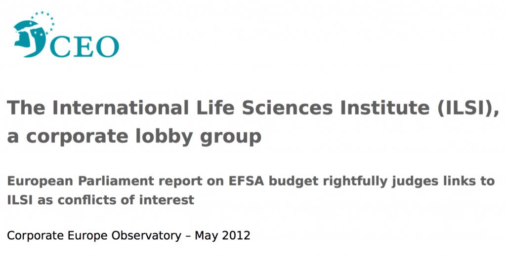 Ausschnitt aus dem Bericht der Corporate Europe Observatory: Ist ILSI eine Hobbyvereinigung?