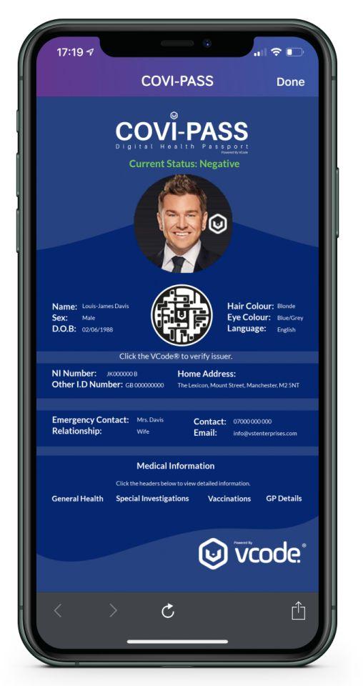 """Die COVI PASS App enthält einen Code, der aus bis zu 100 m Entfernung gescannt werden kann, und somit die dauerhafte """"soziale Distanzierung"""" ermöglicht. Quelle: Webseite COVI PASS"""