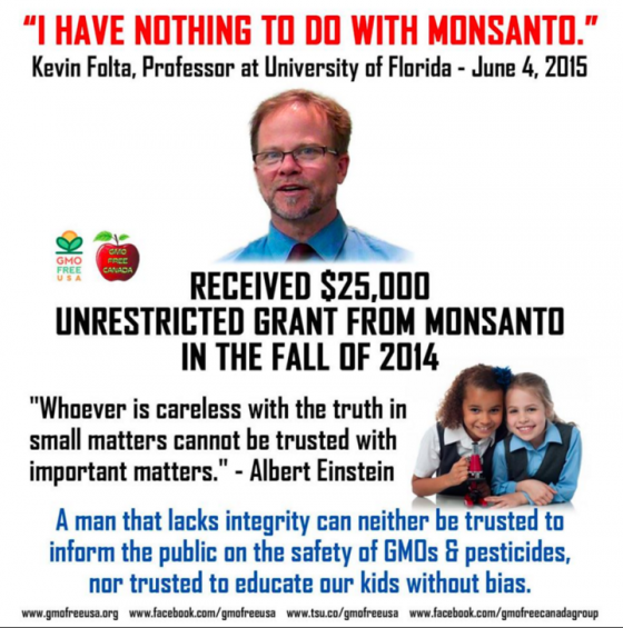 Kevin Folta nahm Geld von Monsanto für einen wissenschaftlichen Artikel und verneinte dies auf Nachfrage.