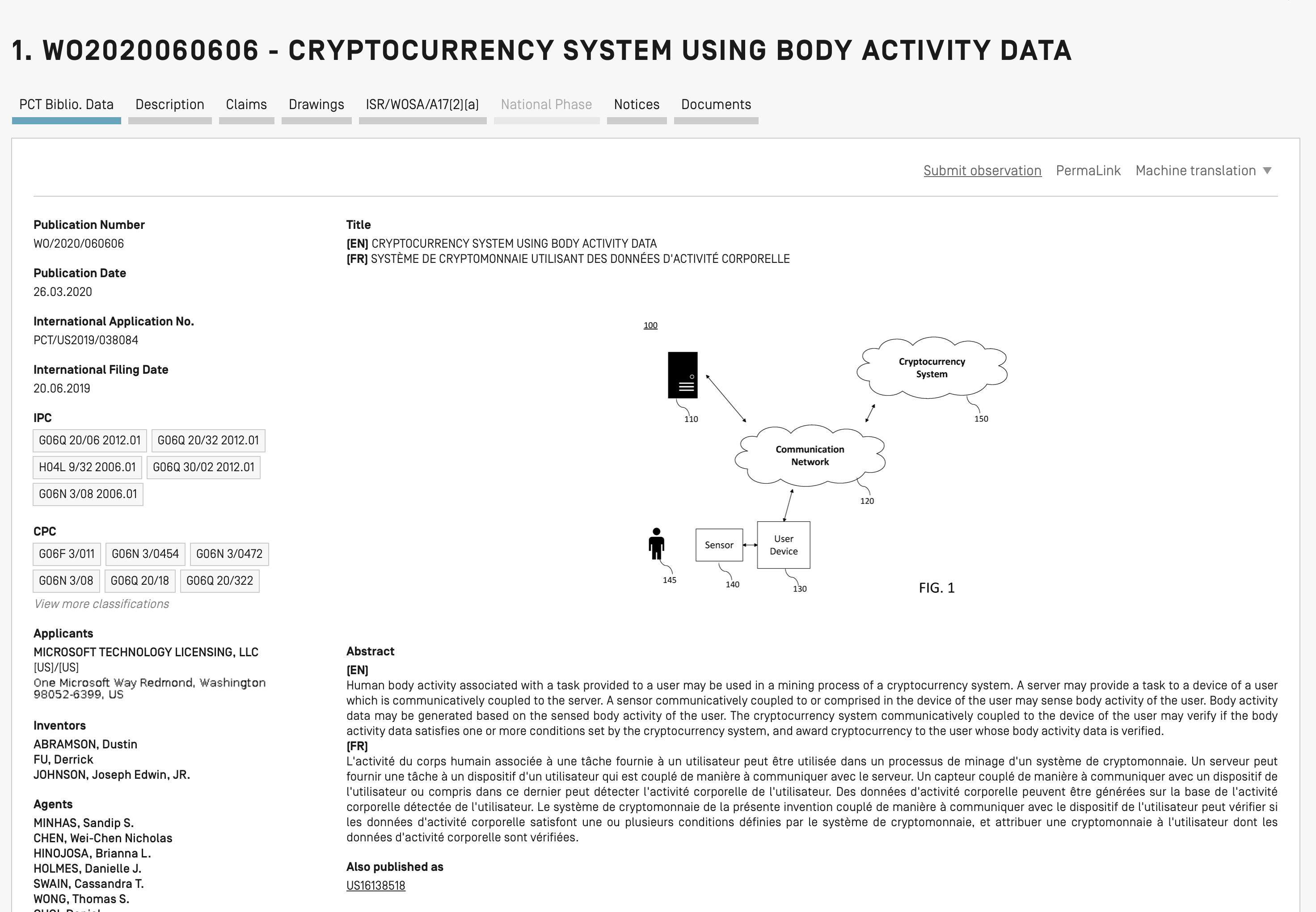 "Screenshot des Microsoft Patents ""Cryptocurrency System using body activity data"""