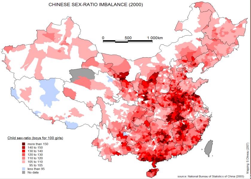 Geschlechtsungleichgewicht in China 2000. Quelle: Nationales Büro für Statistik, China, 2003