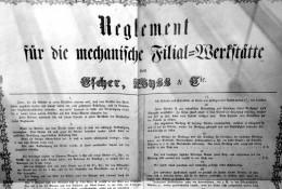 Gründungsurkunde der Escher-Wyss-Fabrik Ravensburg, datiert 1860. Quelle: Unlimited Hangout