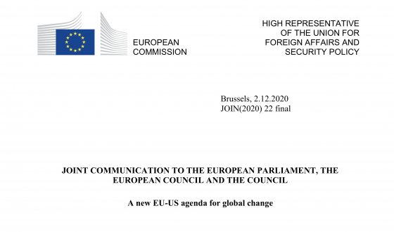 "Screenshot des EU-Dokumentes ""A new EU-US agenda for global change "". Quelle: EU-Kommission"