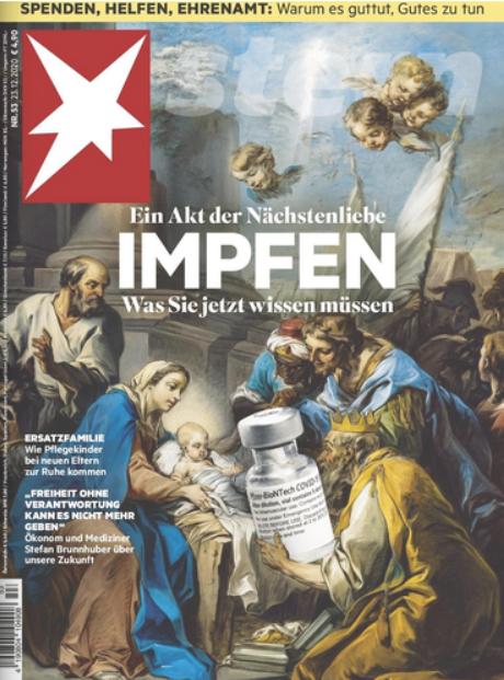 Der Titel des Magazins Stern verkauft Impfen mit einem gefährlichen Impfstoff als Akt der Nächstenliebe. Quelle: Foto von der Zeitschrift.
