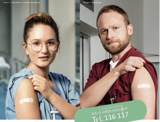 """Covid-Impfkampagne """"Deutschland krempelt die Ärmel hoch"""". Quelle: BMG"""