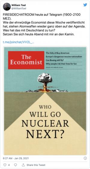 Tweet von William Toel zu einem möglichen Atomkrieg. Quelle: Screenshot aus Twitter.